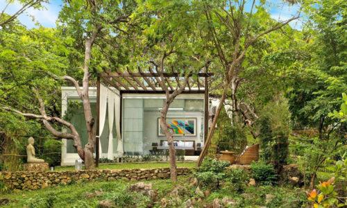 lush green zen garden villa