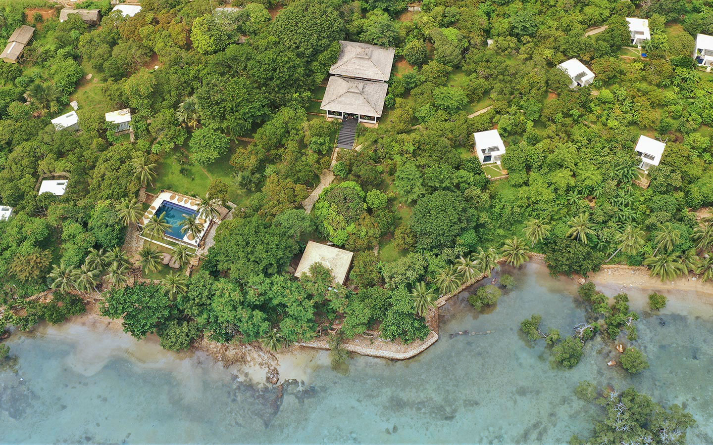 aerial view of The Dream Resort coastline